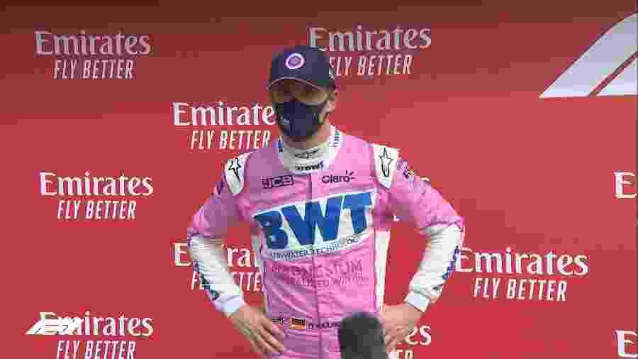 Nico Hulkenberg, da Racing Point, após treino classificatório do GP de Silverstone - Reprodução/@F1