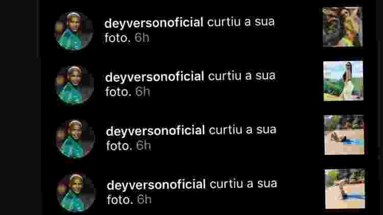Deyverson curte fotos de Karina Alexandre - Reprodução/Instagram - Reprodução/Instagram