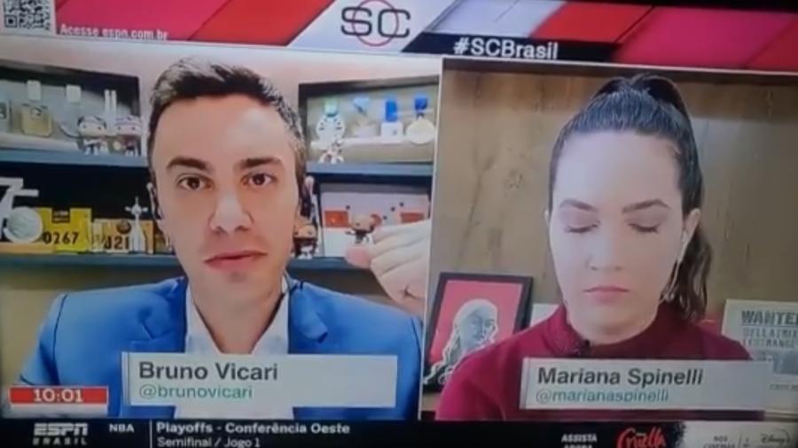 Mariana Spinelli ficou com os olhos fechados em imagem travada durante a abertura do Sportscenter - Reprodução/Twitter