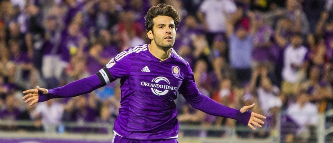 Kaká celebrou o gol marcado na vitória do Orlando contra o Portland, pela Major League Soccer