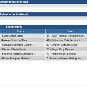 Súmula de Flamengo 1 x 2 Palmeiras tem erro de informações