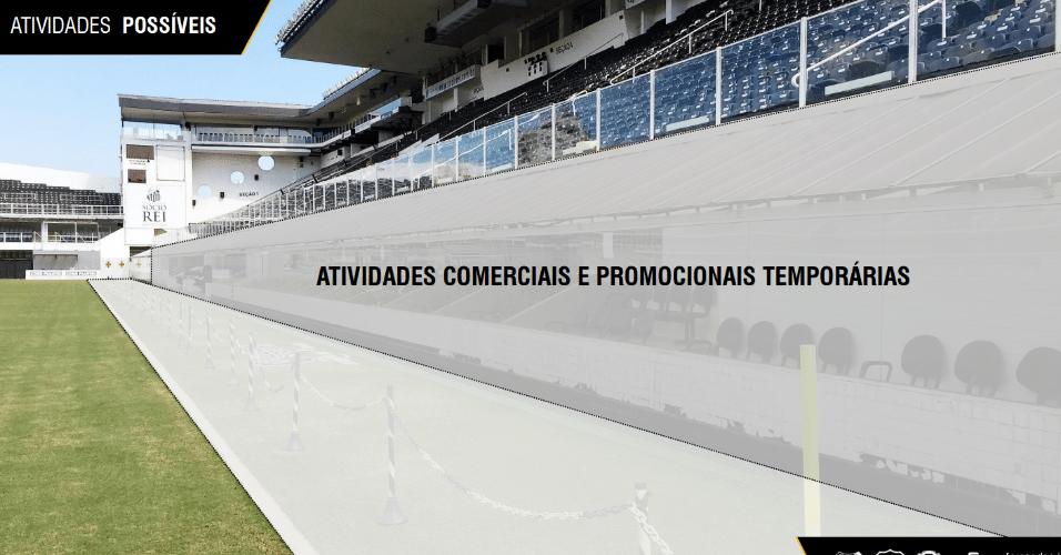 Arena também terá espaço para atividades comerciais e promocionais temporárias