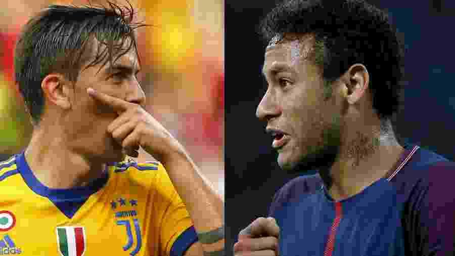 Diretoria da Juventus quis envolver o argentino Dybala em negociação fracassada com o PSG por Neymar - Marco Bertorello/AFP e Jean-Paul Pelissier/Reuters