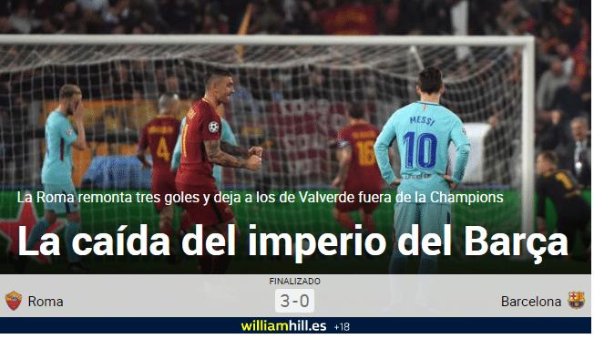 """""""A queda do Império Barça"""", escreveu o jornal espanhol Marca"""