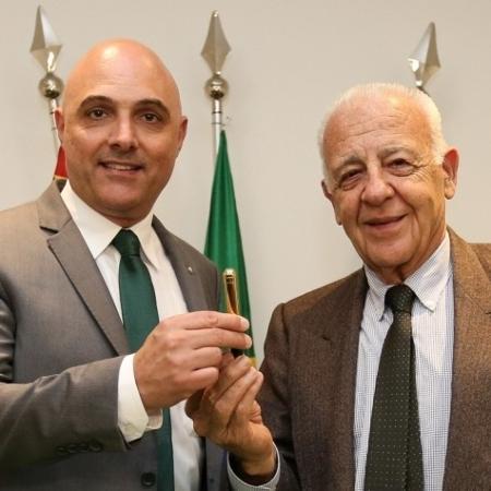 Maurício Galiotte, presidente do Palmeiras, e Seraphim Del Grande, presidente do Conselho Deliberativo - Fábio Menotti/Ag. Palmeiras/Divulgação