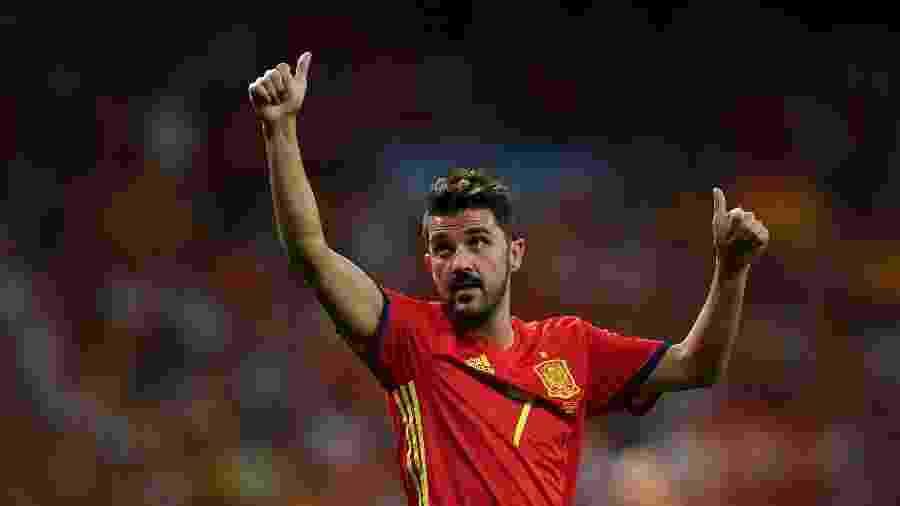 2.set.2017 - David Villa comemora vitória da seleção da Espanha contra a Itália durante a classificação para a Copa do Mundo 2018 - Gabriel Bouys/AFP
