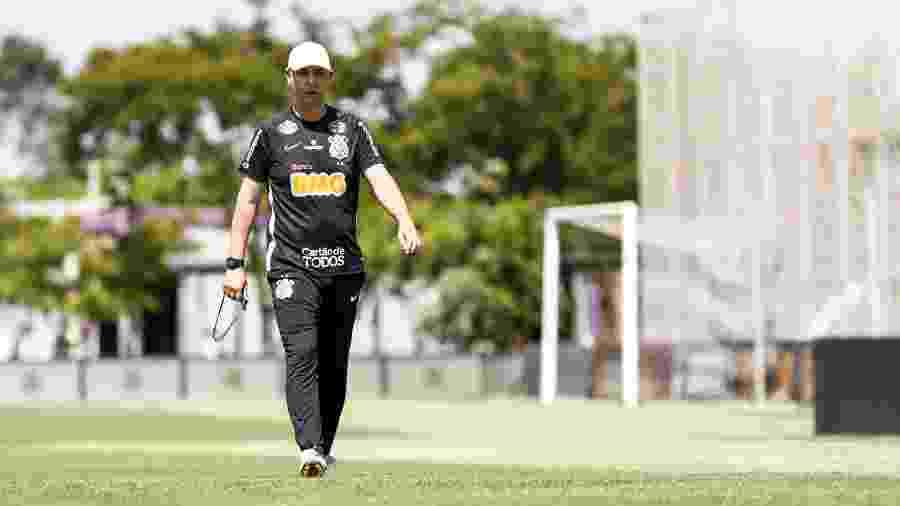 Técnico Tiago Nunes em treino do Corinthians no CT Joaquim Grava - Rodrigo Gazzanel/Agência Corinthians