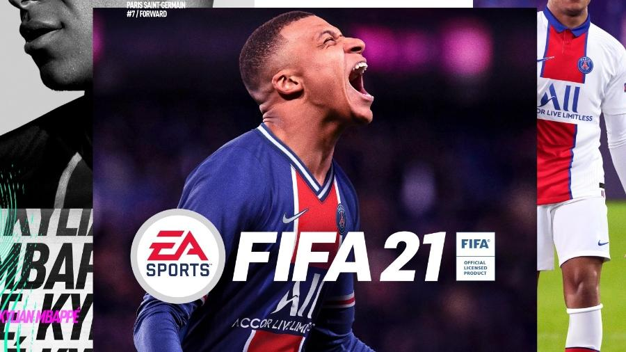 Kylian Mbappé, do PSG, na capa do Fifa 21; game é atração do Futebol Muleke na Twitch e no TikTok - Reprodução/EA Sports