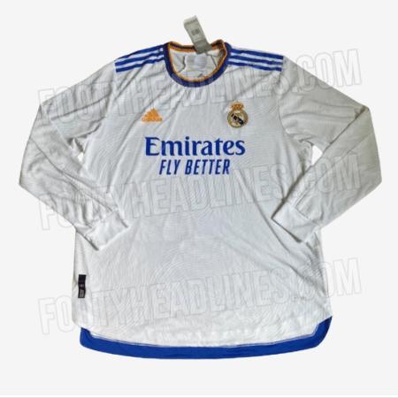 Suposta nova camisa do Real Madrid tem detalhes em azul e laranja - Reprodução/FootyHeadlines.com
