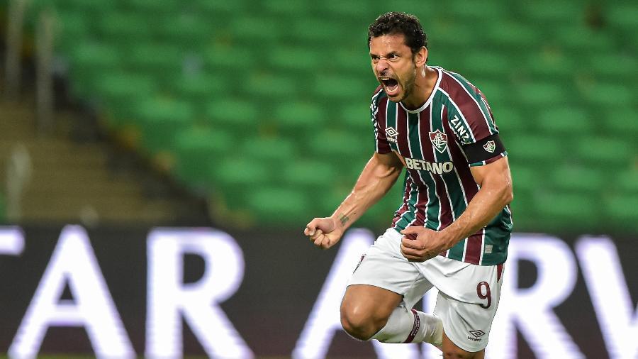 Fred comemora gol do Fluminense contra o Cerro Porteño pela Libertadores - Thiago Ribeiro/AGIF