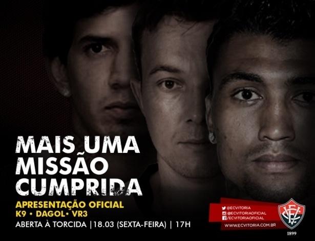 Victor Ramos, Dagoberto e Kieza serão apresentados nesta sexta no Barradão - Divulgação/Vitória