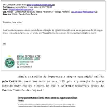 E-mail anexado pelo Atlético-PR de que o Coritiba teve ciência do pedido de aluguel - Reprodução - Reprodução