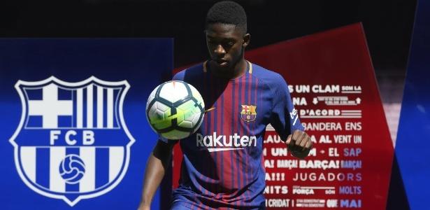 Ousmane Dembelé no dia de sua apresentação ao Barcelona