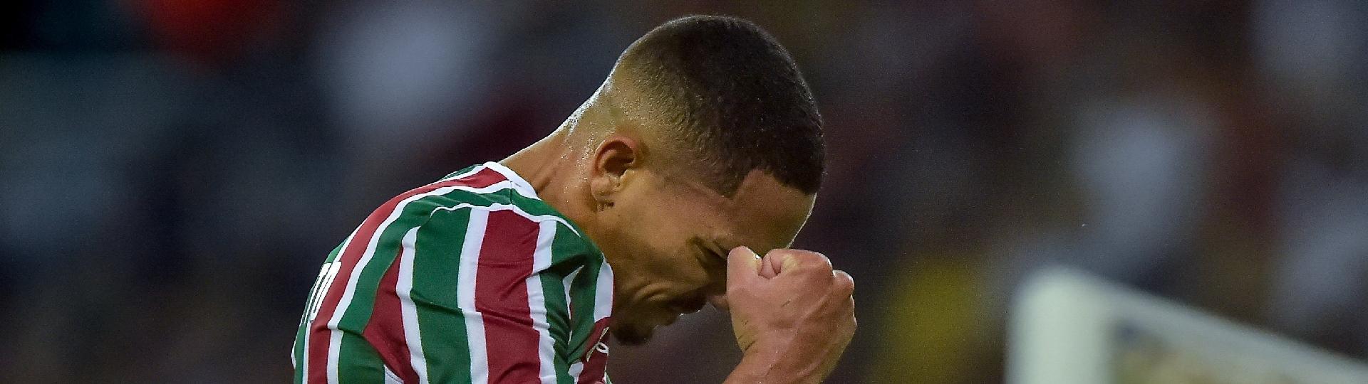 Gilberto, do Fluminense, comemora seu gol durante partida contra o Santa Cruz pela Copa do Brasil 2019