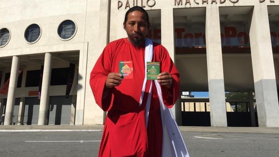 """Torcedor peruano, David Chauca Quispe, conhecido como """"ElIsraelita"""" - José Eduardo Martins/UOL"""