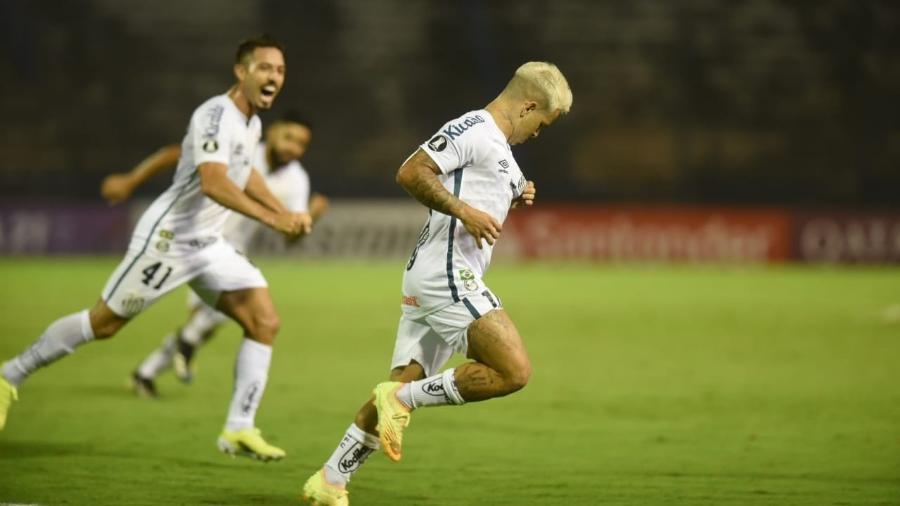Soteldo comemora gol do Santos contra o Deportivo Lara, da Venezuela, na Libertadores - Divulgação / Santos FC