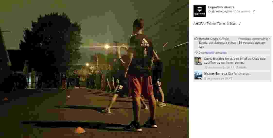 Deportivo Riestra (ARG) treina na madrugada - Reprodução/Facebook