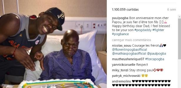 Paul Pogba, do Manchester United, ao lado do pai Fassou