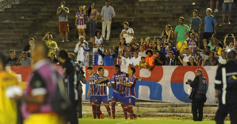 Bahia comemora vitória sobre o Botafogo-PB pela Copa do Nordeste
