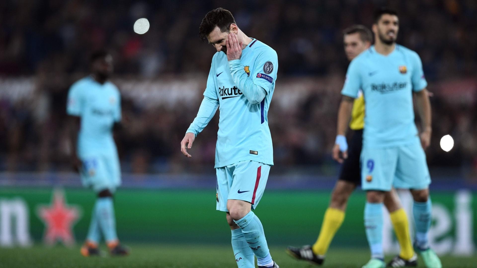 Lionel Messi mostra decepção após eliminação do Barcelona para a Roma