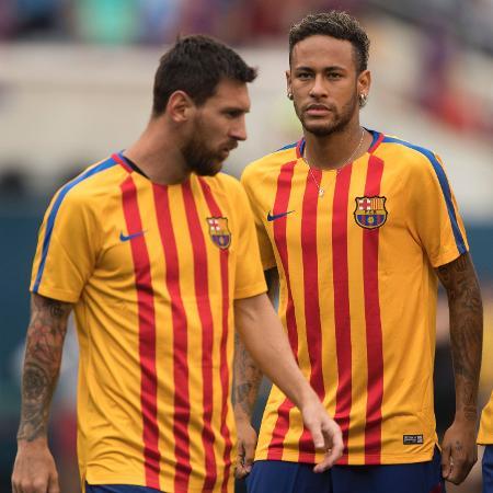 Neymar e Lionel Messi: brasileiro sonha em reviver parceria dos tempos de Barça - Don Emmert/AFP