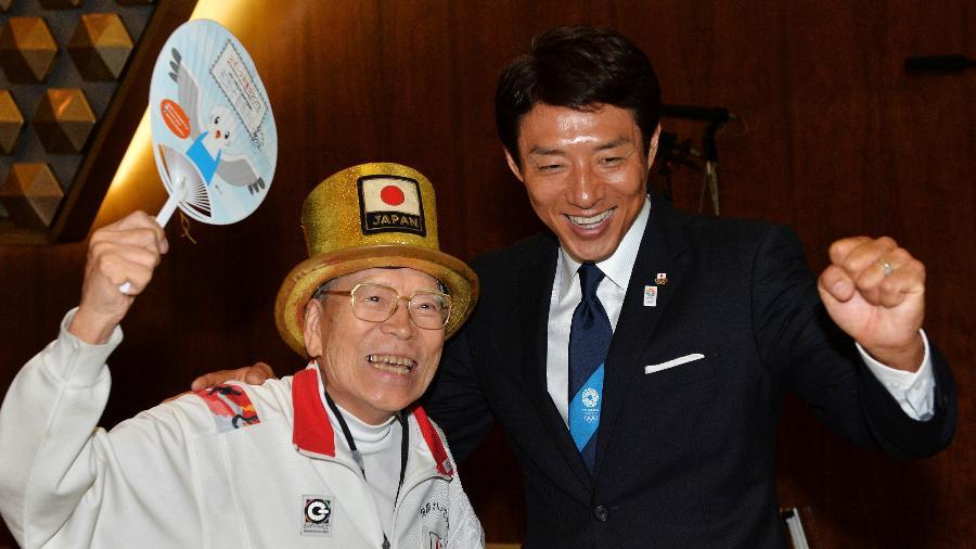 Naotoshi Yamada (à esquerda) participou da cerimônia de anúncio de Tóquio como sede dos Jogos Olímpicos de 2020 - Atsushi Tomura/Getty Images