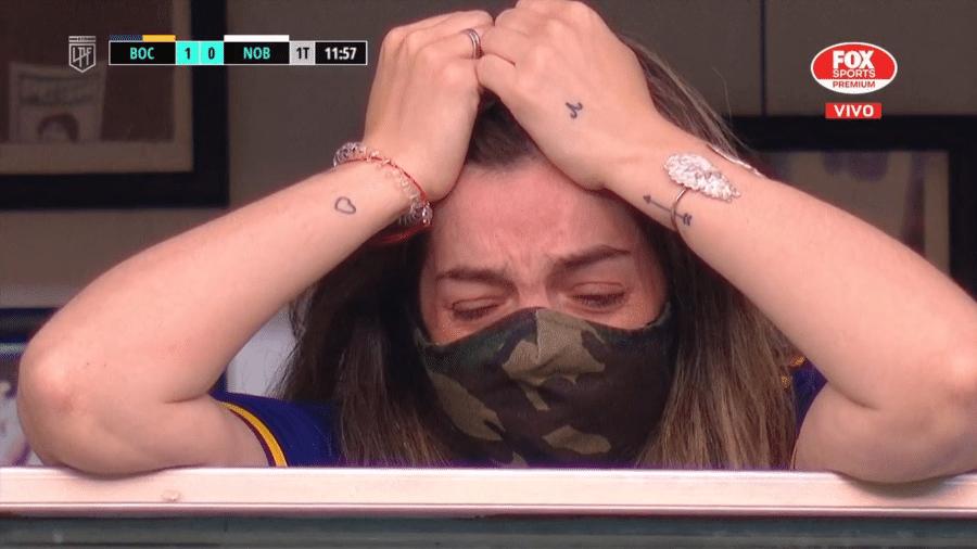 Filha de Maradona, Dalma, chora após comemoração dos jogadores do Boca Juniors - Reprodução/Fox Sports Premium
