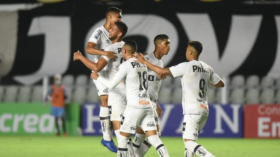 Jogadores do Santos comemoram gol da vitória sobre a Inter de Limeira - Divulgação/Santos