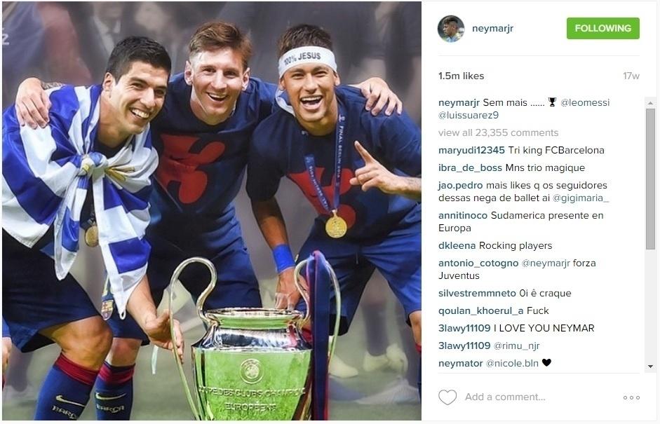 Neymar, Messi e Suárez com a taça da Liga dos Campeões