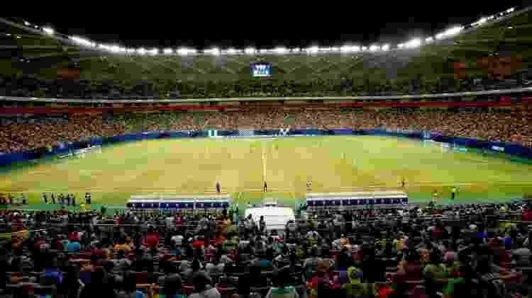 Torcedores lotam a Arena da Amazônia para assistir à disputa entre Iranduba e Santos pelo Campeonato Brasileiro, em 2017 - Esporte Clube Iranduba da Amazônia - Esporte Clube Iranduba da Amazônia