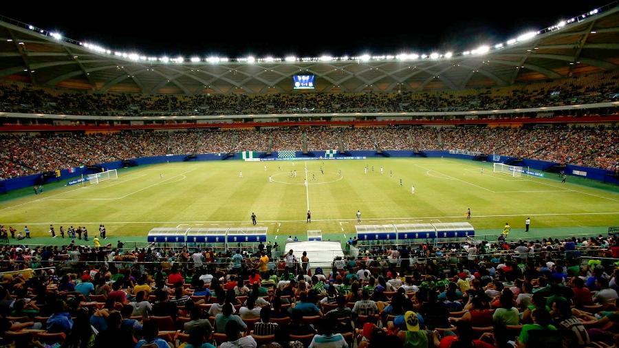 Arena da Amazônia tem capacidade para pouco mais que 44 mil torcedores; 30% representa cerca de 13,2 mil lugares disponíveis - Esporte Clube Iranduba da Amazônia