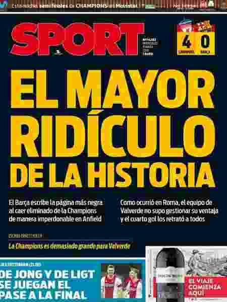Jornal Sport chama derrota do Barcelona de maior ridículo da história - Reprodução/Sport