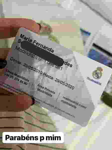 Brasileira Maria Fernanda exibe nas redes sociais a carteirinha de sócia do Real Madrid - Reprodução