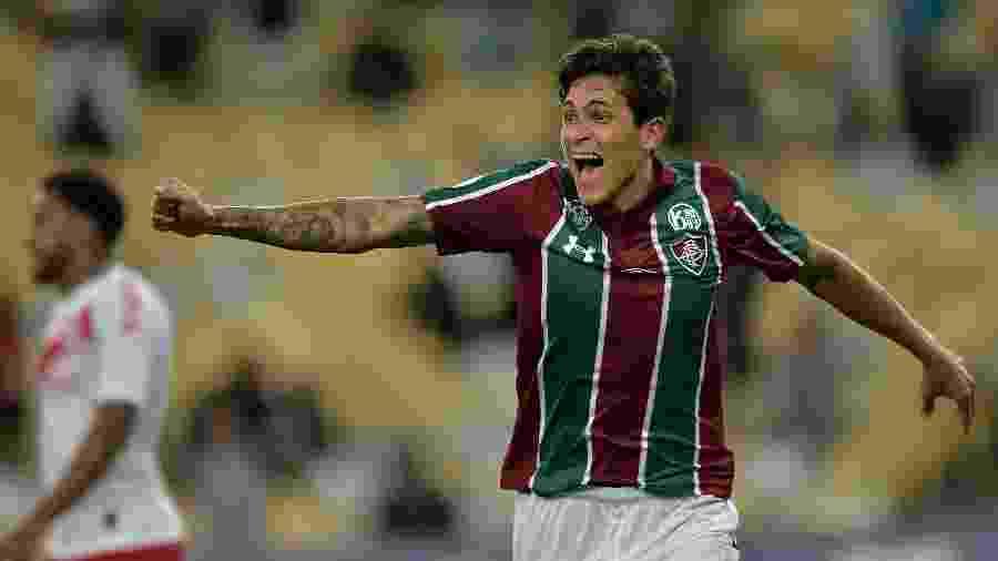 Pedro comemora gol do Fluminense sobre o Internacional: jogador está no radar de europeus - Thiago Ribeiro/AGIF