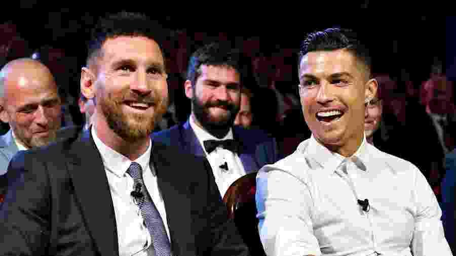 Messi e Cristiano Ronaldo durante sorteio da Liga dos Campeões - Harold Cunningham - UEFA/UEFA via Getty Images