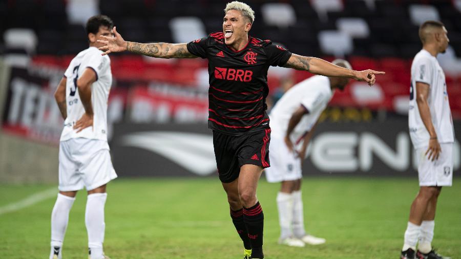 Pedro comemora gol do Flamengo contra o Resende, pelo Campeonato Carioca. Atacante volta contra a Portuguesa - Jorge Rodrigues/AGIF