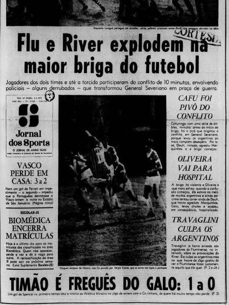 Matéria retala vitória do Fluminense sobre o River Plate e briga - Reprodução