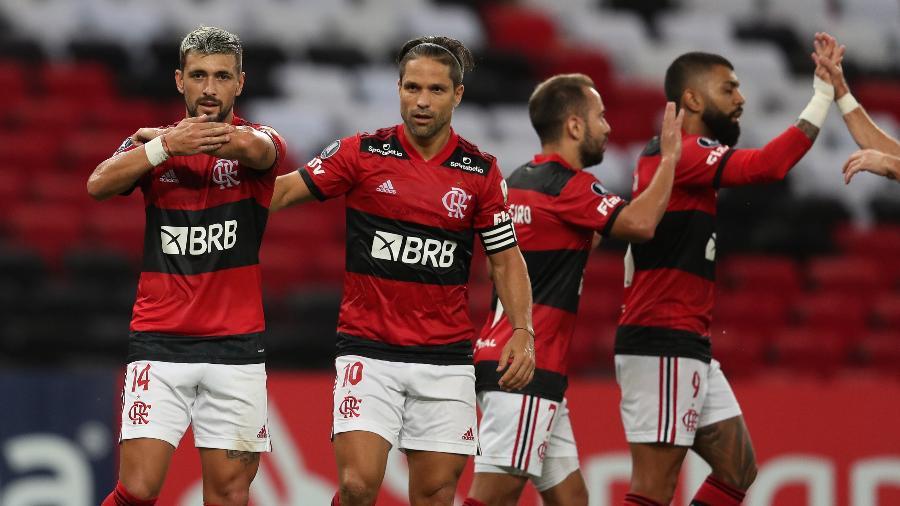 Arrascaeta, do Flamengo, comemora gol em cima do La Calera, pela Libertadores - Twitter Conmebol Libertadores