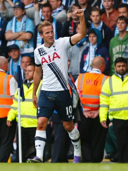 Harry Kane comemora o terceiro gol do Tottenham frente ao Manchester City em White Hart Lane - Eddie Keogh/Reuters