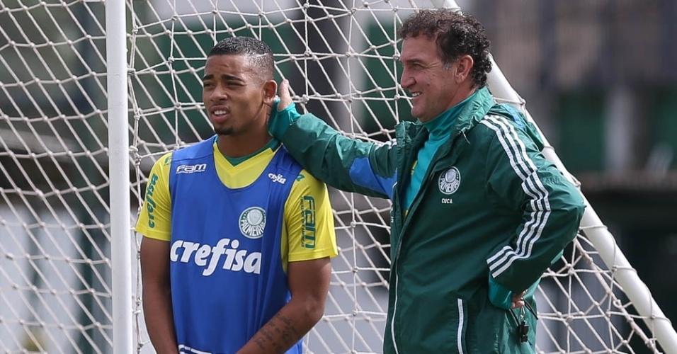 Gabriel Jesus e Cuca durante treino do Palmeiras na Academia de Futebol