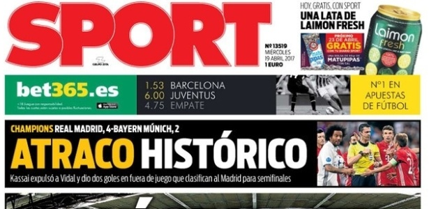 Sport critica vitória do Real Madrid sobre o Bayern de Munique