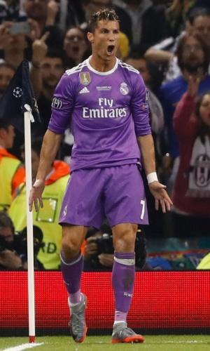 Cristiano Ronaldo comemora gol marcado na final da Liga dos Campeões, pelo Real Madrid