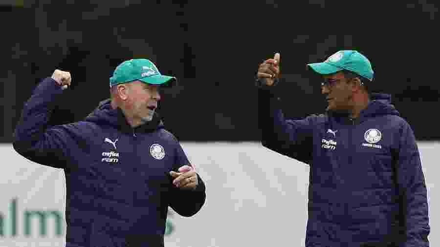 Mano Menezes, novo técnico do Palmeiras, e Wesley Carvalho, treinador do sub-20 - Cesar Greco/Ag. Palmeiras/Divulgação