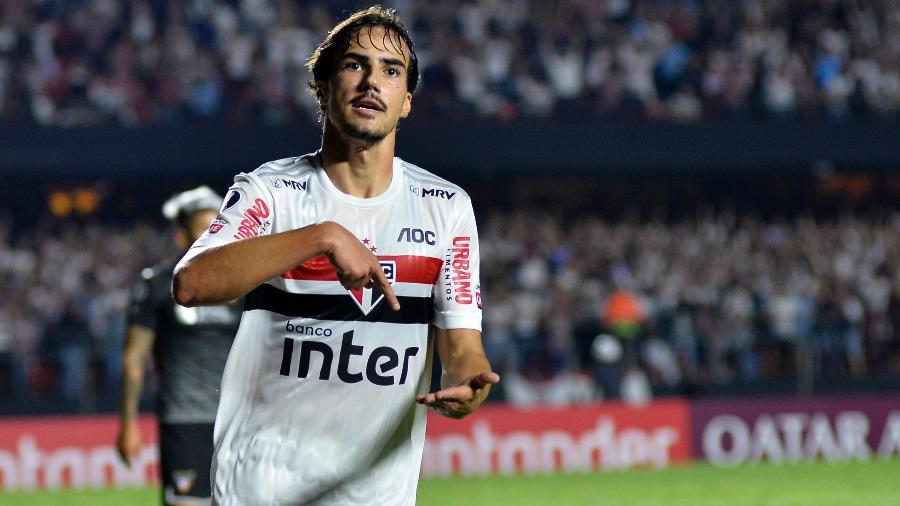 Igor Gomes comemora gol marcado pelo São Paulo sobre a LDU na Libertadores - Bruno Ulivieri/AGIF