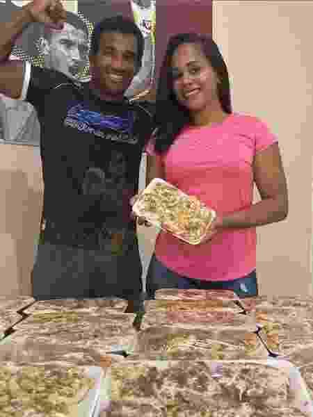 Esquiva Falcão e a mulher vendem pizza no Espírito Santo - Reprodução