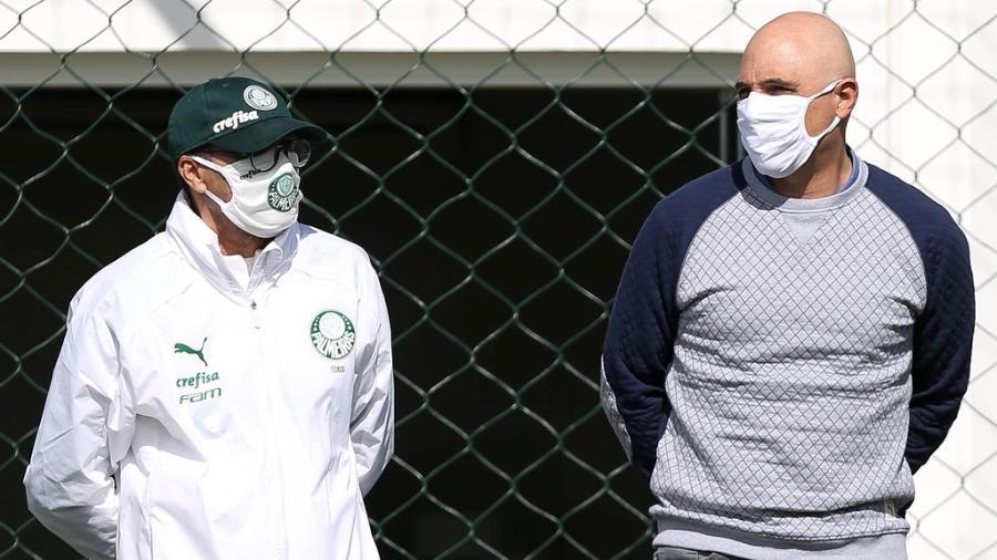 Vanderlei Luxemburgo e Maurício Galiotte acompanham treino do Palmeiras - Cesar Greco/Palmeiras
