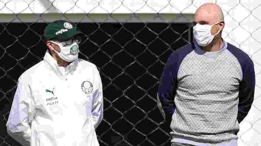 Vanderlei Luxemburgo e Maurício Galiotte acompanham treino do Palmeiras durante a semana - Cesar Greco/Palmeiras