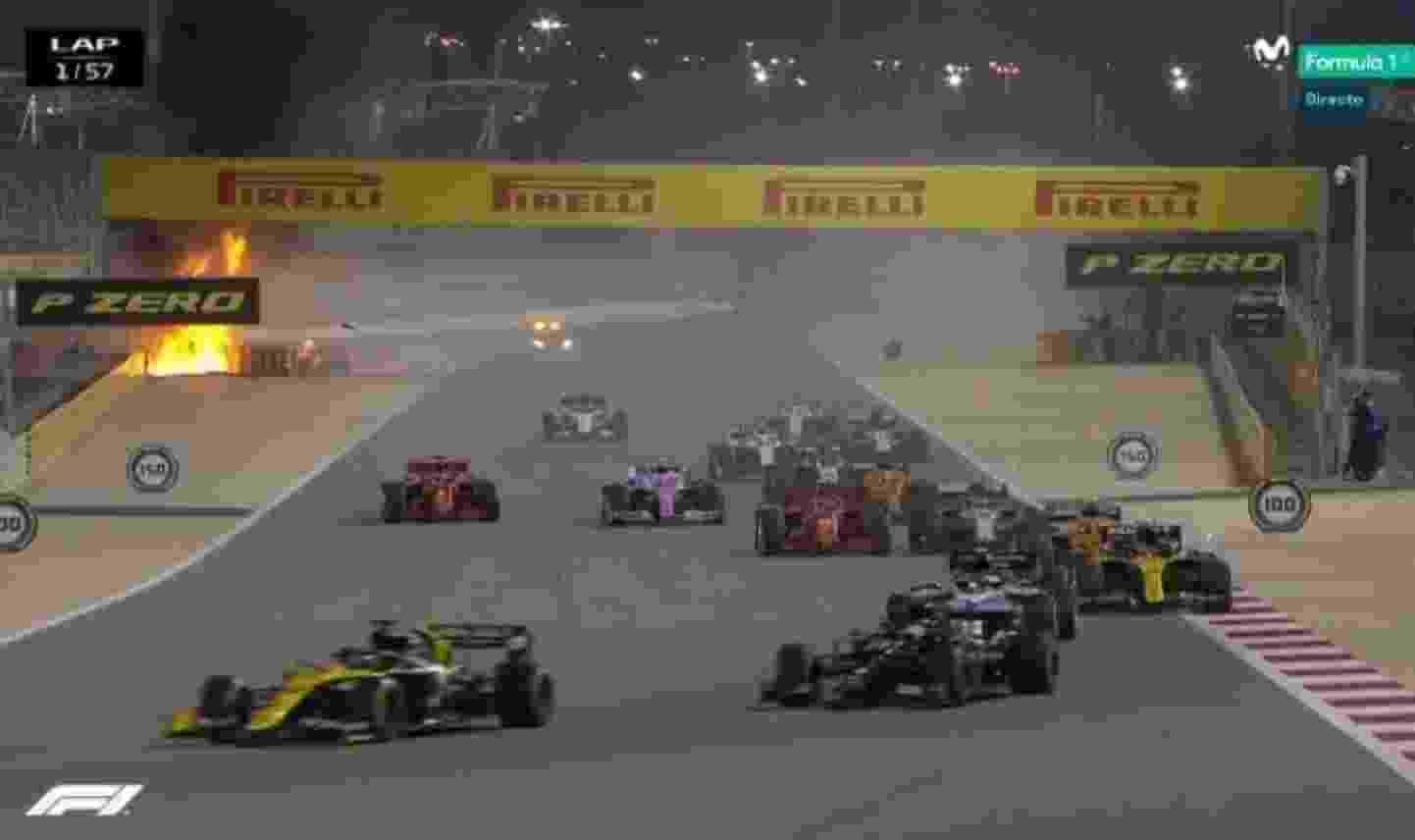Romain Grosjean sofreu acidente grave durante a largada do GP do Bahrein - Reprodução/Movistar