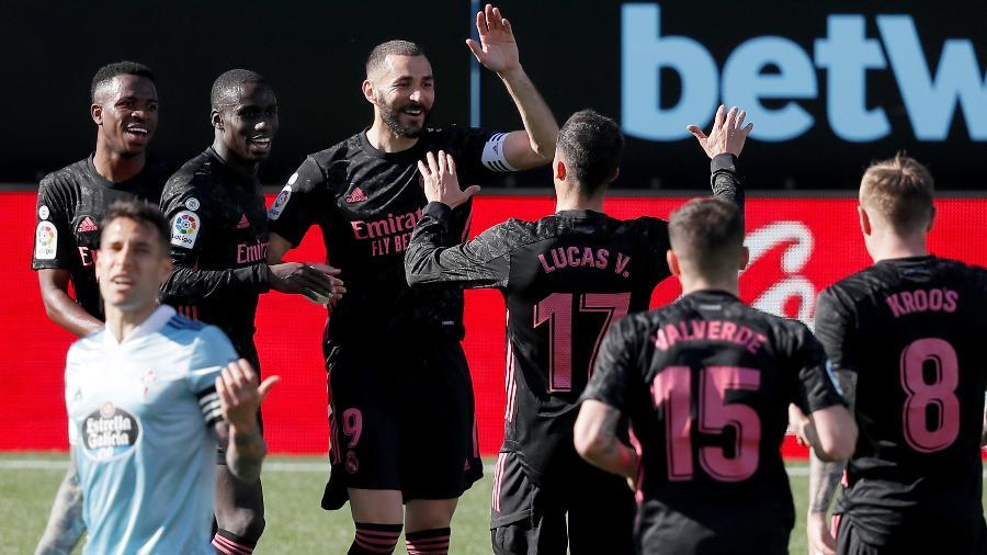 Benzema comemora o segundo gol do Real Madrid contra o Celta de Vigo - Soccrates Images/Getty Images