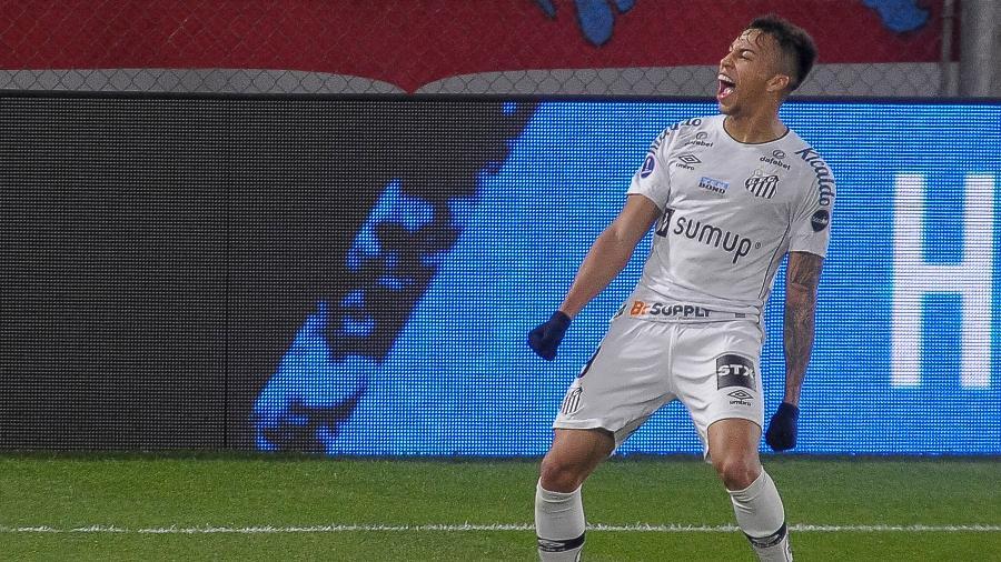 Com o gol marcado sobre o Independiente, pela volta das oitavas da Sul-Americana, Kaio Jorge assume a artilharia do Santos na temporada, com oito tentos. - FotoBaires/AGIF